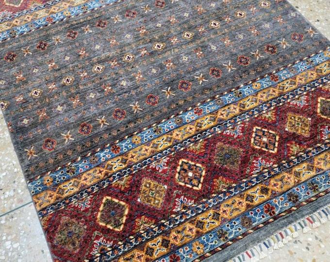 5x7 Afghan rug, area rug, baluch rug, aztec rug, sumac rug, neutral oriental rug, colorful rug, southwestern rug, vintage rug, kitchen rug