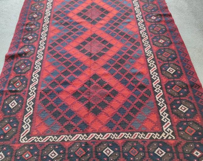 Vintage Afghan Flat Weave Runner, Runner Kilim Rug, Maimana Kilim, Red Runner, Kilim, Vintage, Natural Dye Hand-spoon Wool, Afghan kilim Rug