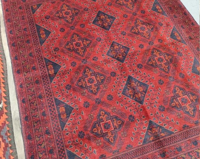 5X7 Well-made Afghan hand knotted Khalmohamadi rug, Red Rug, vintage rug, entry vintage rug, bathroom vintage rug, kitchen rug, Persian rug