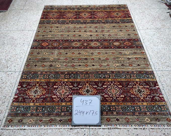 Excellent Hand-Knotted Turkish Design Brand New Afghan handmade rug, large area rug, tribal rug, red persian rug