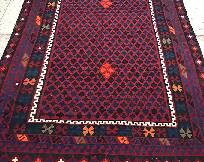 Red Afghan handwoven Kilim,Area Antigue Kilim Rugs  Rug Kilim,  Large Area Vintage Handmade Afghan Traditional Area Kelim, Vintag Kilim Rug