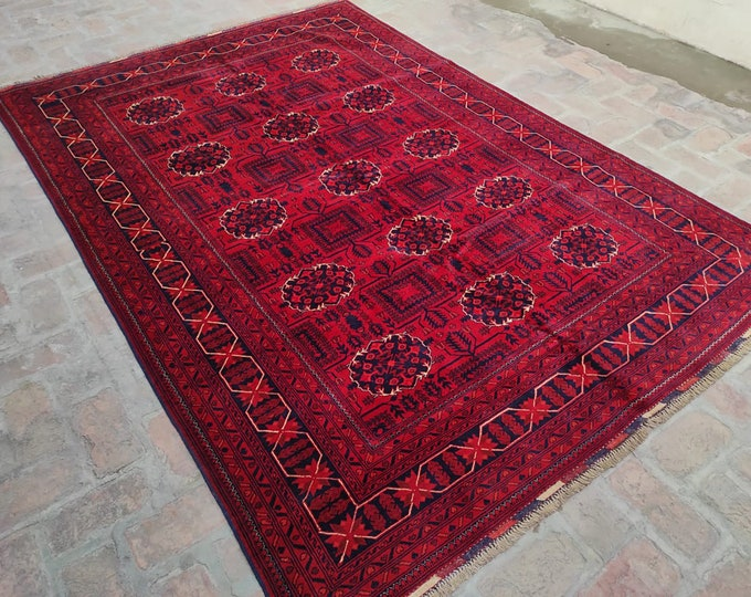 7x10 Afghan rug, nursery decor, persian rug, vintage rug, small rug, kitchen rug, bokhara rug, small rug, baluch rug, rug runner, fringe rug