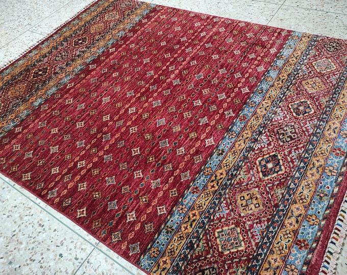 5x7 bedroom rug, home decor rug, war rug, colorful kilim rug, floor rug, chindi rug, baluch rug, morocco rug, bohemian rug, floor rug