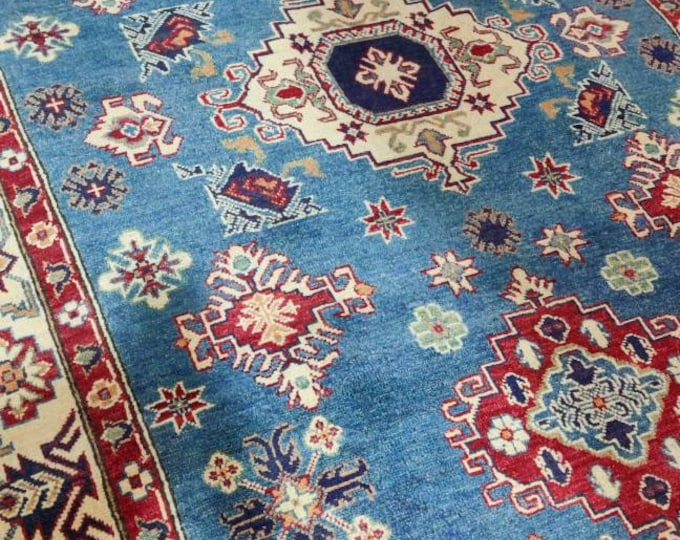 5x7 Vintage Afghan Kazak Rug, hand knotted Persian rug, fringe on both ends, with rod space for wall hanging, salmon and blues, bohemian rug