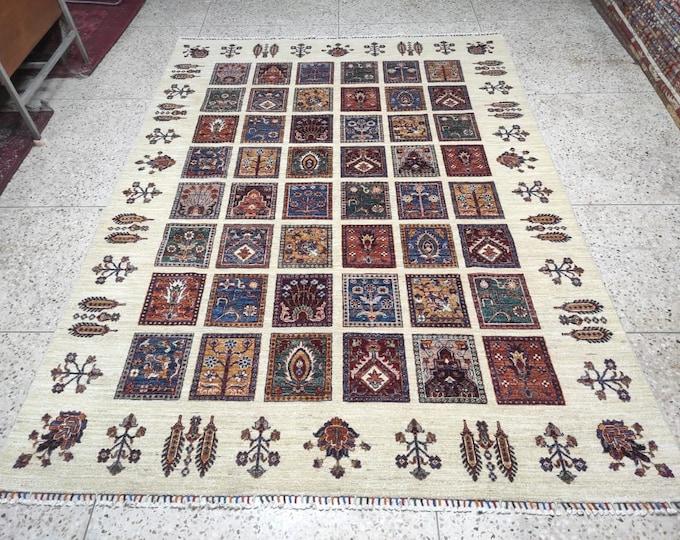 7X10 Hand Knotted Mamluk Design Rug - Area Rug For Bedroom - Oriental Living Room Rug - Medallion Dining Room Rugs, Turkish rugs - Persian