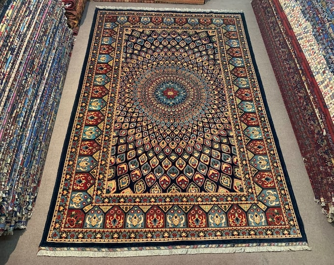 Beautiful Persian design made with High-quality of Afghan Ghazni wool, large room sized rug oriental style low pile Rug