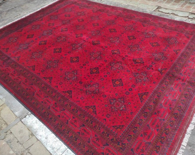 8X11 Ft Brand New High Quality Handmade Afghan Khal Mohammadi rug, large red area rug, tribal rug, red persian carpet, Living room red rug