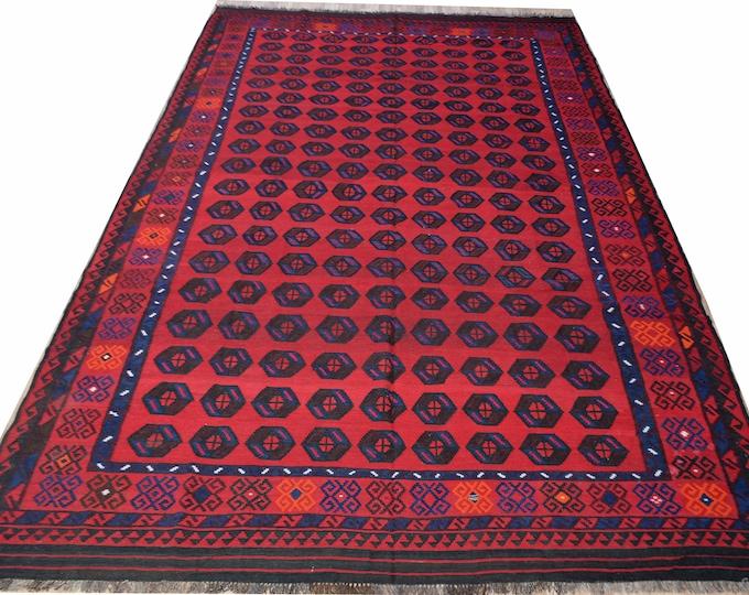 8X13 Maimana Kilim/Beautiful Afghan Kilim/Maimana Kilim/Large Area Kilim/Vintage Afghan/Large Tribal Bokhara Pattern Turkomen Maimana Kilim