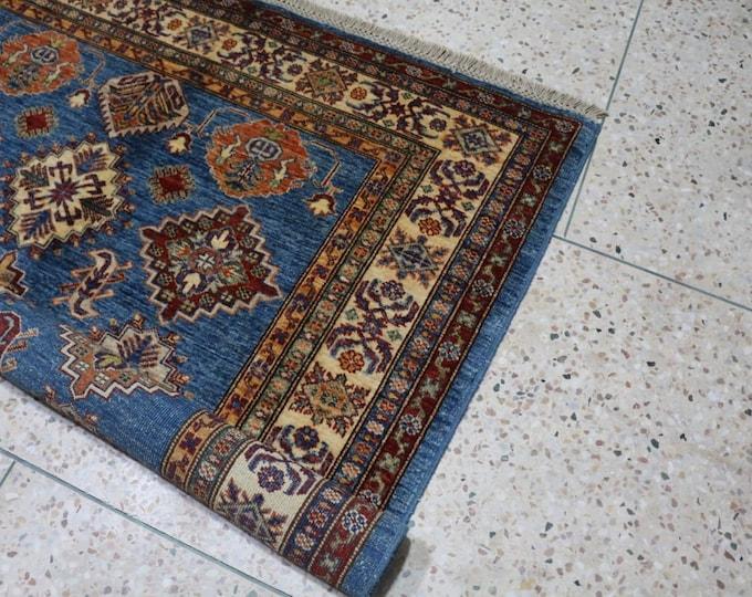 Merino Wool Blue rug, Afghan Blue Rug, High Quality Rug, wool rug, persian Design rug, tribal rug, geometric rug, worn rug, Soft Blue Rug