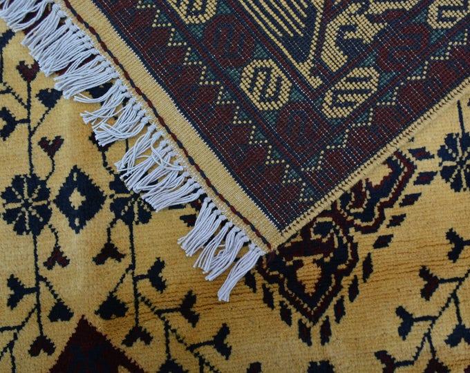 6'7X4 ft Well-made soft Afghan handmade Karghae Area Wool rug, Persian rug, Yellow rug, Torkmen Area Rug Baluch Rug