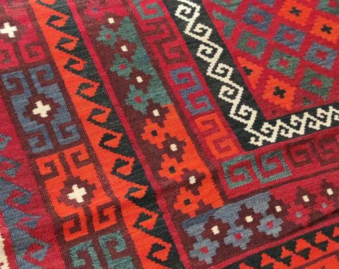 7x10 Vintage rug Afghan Maimana Kilim Rug, bokhara rug, vintage flower shape rug, area rug, morocco rug, traditional rug, office nomadic