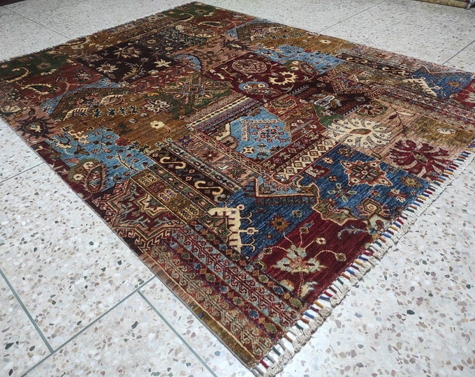 Blue Rug Persian Design Living Room Size Merinos Afghan Handmade Rug Made with SOFT Wool of Sheep with Vibrant Colors