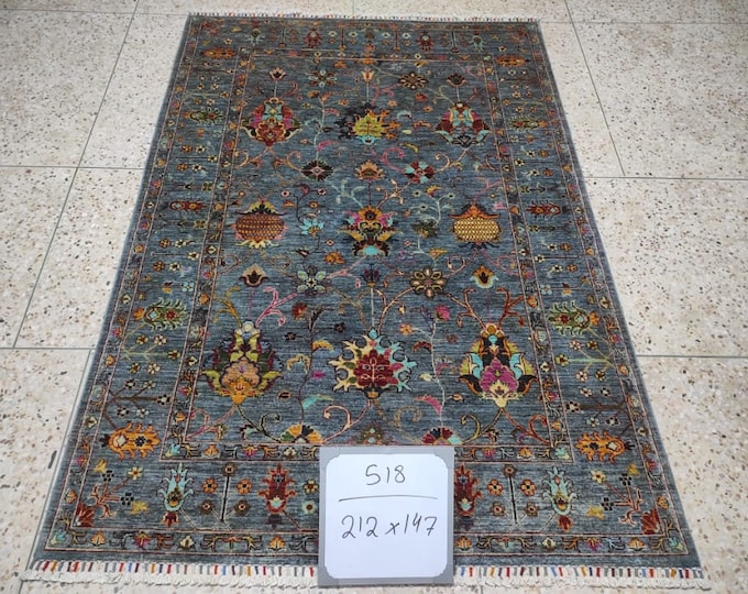 4'77X6'87 Ft Beautiful Afghan Gabbeh Natural Dye Wool Rug, Modern style Hand-knotted Wool Rug