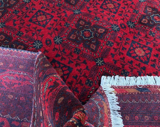 6x8 Afghan rug Khamyab high-quality rugs, rugs for living room, fringe rug, red rug, doormat rug, tribal rug, kitchen rug Kid rugs