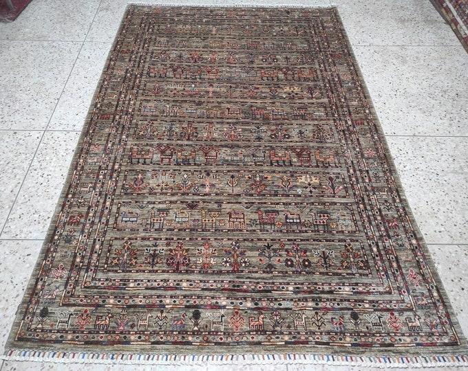6X8 Rug Turkish Area rug - Blueish Gray Hand knotted wool rug - Living room rug - Bedroom rug - Grey Oushak Rug - Bohemian rug - Office Rug