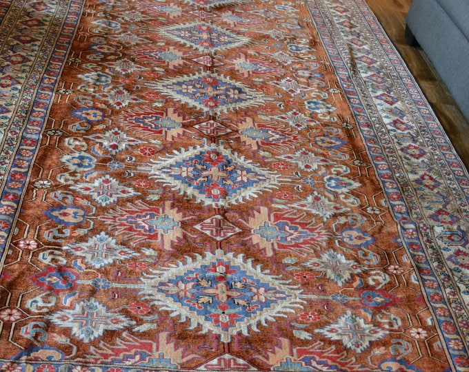 Pure Finest quality Silk Rug 10X7 Double knotted 100% vintage Silk Afghan Kazak design Rug, Persian silk rug, Kazak rug