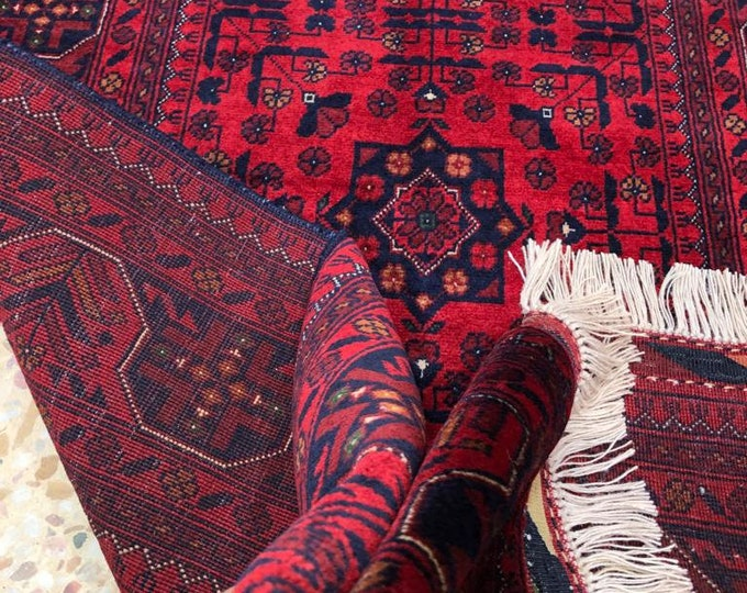 Highest quality Double Knotted Beljik Soft Well-made Afghan Merino Handmade Area Rug, Hand-knotted Oriental Geometric Rug