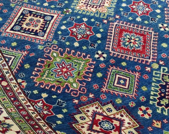 Afghan Kazak Rug Vintage, hand knotted Persian rug, fringe on both ends, with rod space for wall hanging, bohemian rug