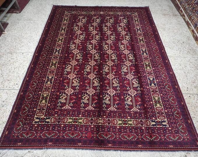 7X10 Volayati High Quality Turkmen Afghan Rug, Oriental, nursery decor, afghan rug, home decor rug, dusty rose rug, tribal rug bedroom rug