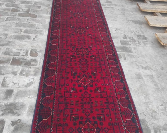 2.43x21 High-quality Afghan Khamyab runner rug, rug, vintage rugs, kilim rug, hand made rug, antique distressed persian rug, large floor rug