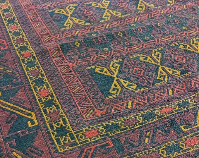 6x9 Vintage Afghan Sumac Kilim Rug, Afghan Red Sumak, Kilim Rug, Khorasan Kilim Rug, Kelim Teppich, Caucasian Sumak kilim rug, Vintage kilim