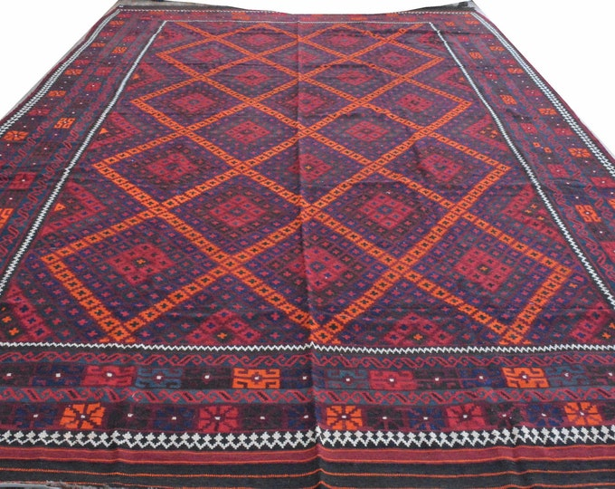 9'4x18'3 ft Big Soft Well-made Afghan Maimana Rug Kitchen Office, Carpet Flat Woven Kilim Rug Handwoven Flat woven Kilim Rug
