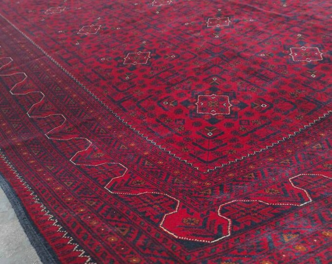 8x11 Khamyab High-quality floor rug, Big size rug, Bokhara Turkmen rug, Red Persian decor rug, Soft Woolen Living room rug, Afghan Rug
