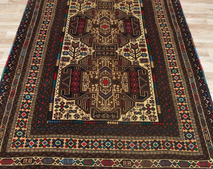 3.10x6.8 Ft Stunning Blue Baluch Wellmade Afghan Rug Extremely Soft Wool, Vintage Runner Rug, Turkish Runner Rug, Runner Handwoven rug