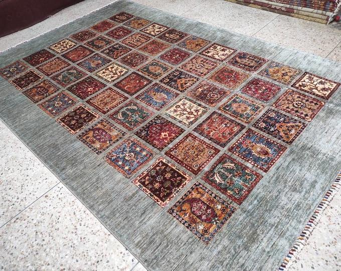 7x10 teal rug, turkish rug, area rug, bohemian rug, vintage rug, moroccan rug, kilim rug, boho rug, rug runner, kitchen rug, bathroom rug