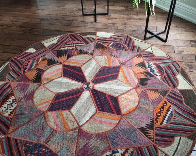 60 inch baluch rug, sumac rug, area rugs, entryway rug, medallion ea rug, patio rug, scandinavian decor, modern furniture, circle rug