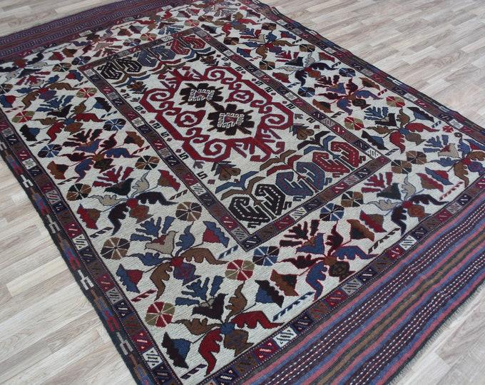 6'3X8'11 Barjasta Afghan Mushwani kilim rug   small tribal rug   nomadic Afghan Tribal mushwani kilim rug   100% wool nomadic kilim Carpet