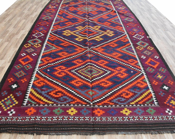 6'10X13'9 Ft Beautiful Handwoven Kilim made with high-quality sheep wool in the north of Afghanistan.