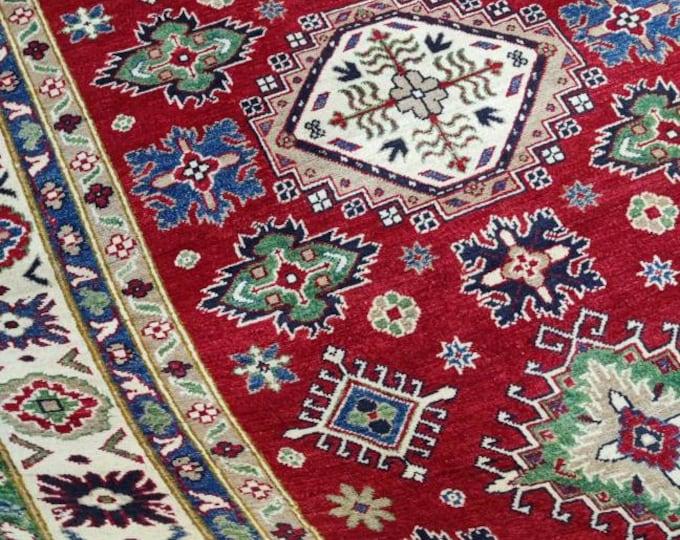 Handwoven 6.7x 5 Ft. Kazak Afghan Kilim | Handmade Rug | Accent Rug | Tribal Rug | Living Room Rug | Bed Room Rug | Organic Rug | Woolen Rug