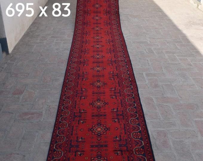 2.69x22 High-quality Afghan Khamyab runner rug, rug, vintage rugs, kilim rug, hand made rug, antique distressed persian rug, large floor rug
