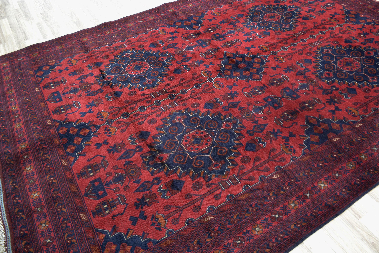 7x10 Red Handmade Oriental Rug Geometrical Bedroom Khalmohammadi Rug Afghan Red Rug Decor Rug Floor Rug Persian Rug Wool Rug