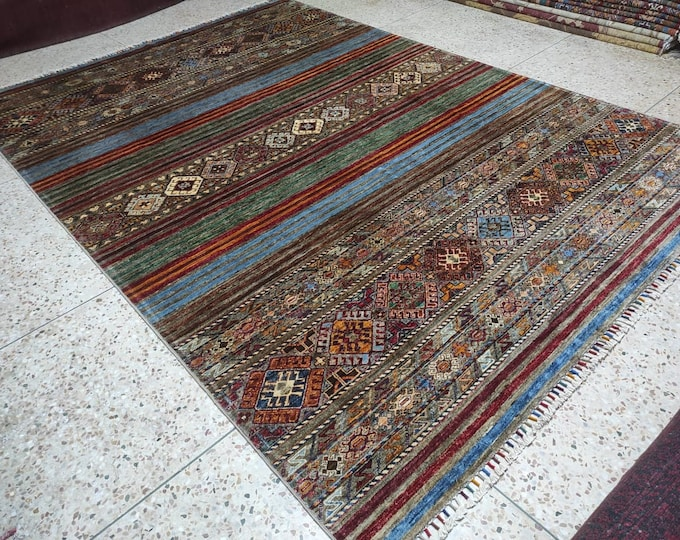 7x10 Ft Large Beautiful Chobe Afghan Handmade Colorful Rug Made with High-quality Soft Sheep Wool on a Cotton Foundation Floral Design Rug