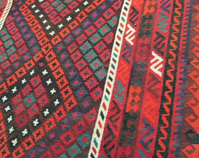 6.7x10 Kilim rug, rugs fringe rug, abstract rug, area rug, moroccan rug, southwestern rug, vintage doormat rug, turkish rug, colorful rug