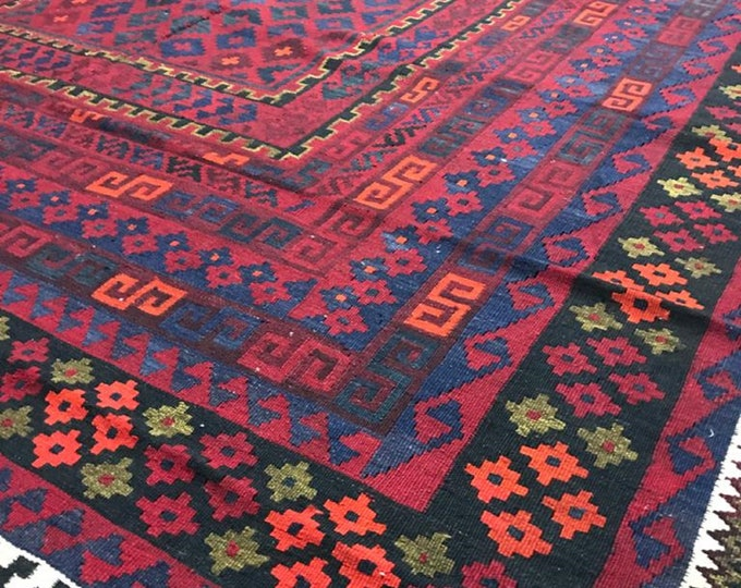 Tribal Afghan handwoven Kilim,Area Antigue Kilim Rugs Rug Kilim, Large Area Vintage Handmade Afghan Traditional Area Kelim, Vintag Carpet