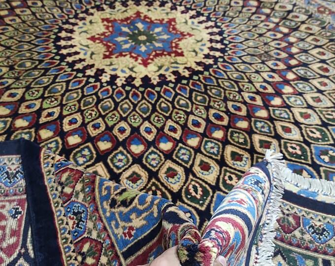 7x10 abstract rug, teal rug, kitchen rug, red rug, wool rug, sumac rug, kilim rug, vintage flower shape rug, antique distressed persian rug