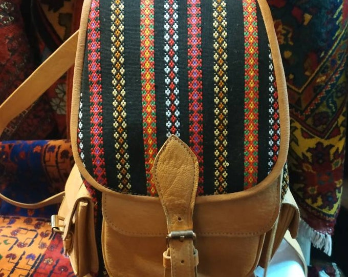 Afghan kilim rug bag leather boho unisex Bohemian chic style leather backpack genuine Morocco back bag,leather bag backpack,Brown backpack