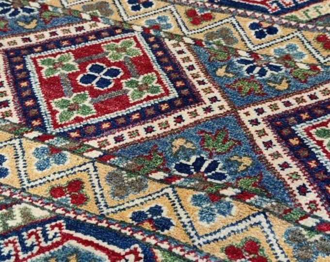 Kazak Rug 5X6.10 Ft Afghan Caucasian Rug Kazakh Rug Area Rug Large Vintage Rug Afghan rug Turkmen rug geometric Vintage Persian rug