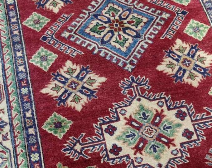 Kazak Rug 4.1X6.2 Ft | Afghan Caucasian Rug | Area Rug Large | Vintage Rug | Afghan rug | Persian rugs | Turkmen rug | kilim rugs
