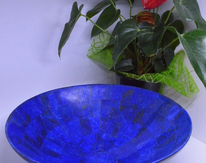 30 Cm Hand Crafted Lapis Lazuli Bowl Ovel Shape Stunning Royal Blue Color Handmade bowl from Badakhshsan Afghanistan