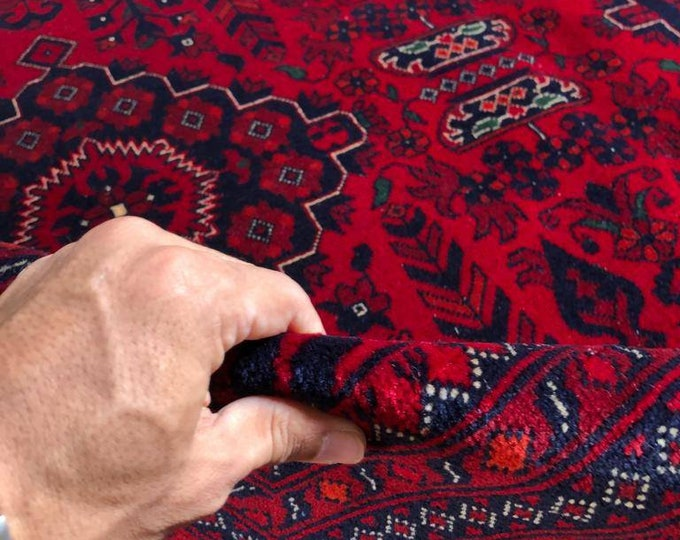 8 X11 Ft Highest quality Double Knotted Beljik Soft Well-made Afghan Merino Handmade Area Rug, Hand-knotted Oriental Bokhara Rug