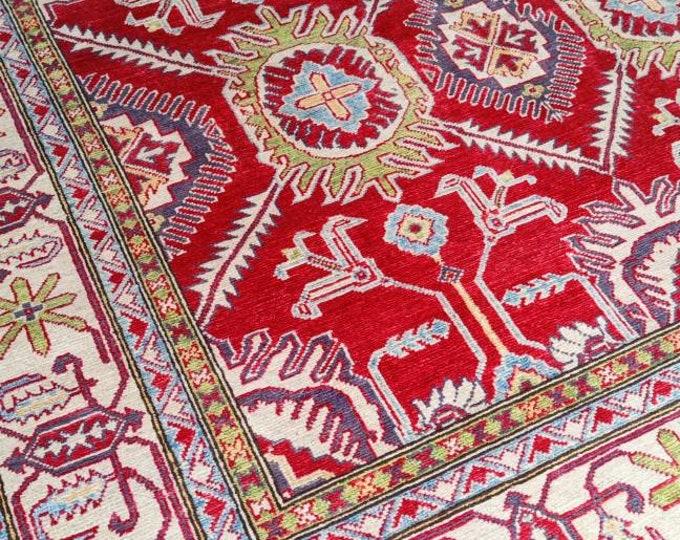 Kazak Rug 6.6X10 Ft hand made rug, housewarming gift, shag rug, abstract accent rug, sumac rug, moroccan rug, turkish rug,teal rug