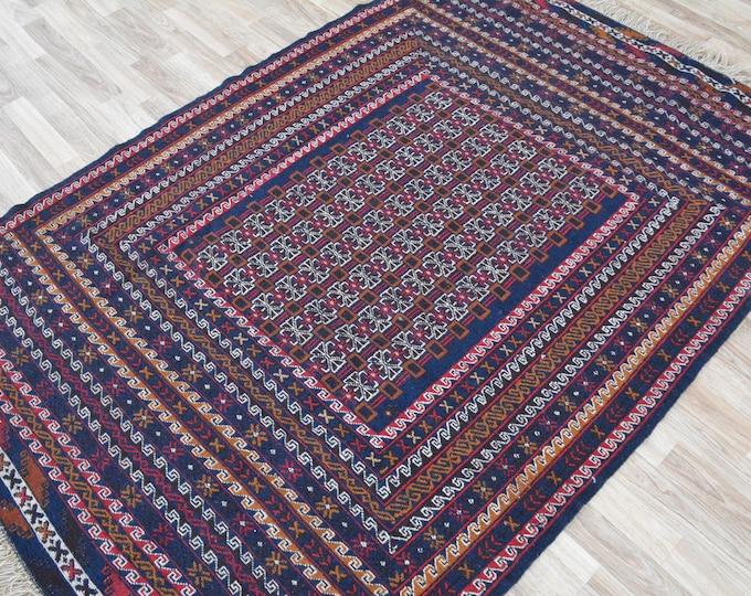 Stunning Vintage Well-made Sumac Handwoven Kilim Rug, Sumac Afghan kilim rug, area interior rug,floor design rug, traditional wool rug