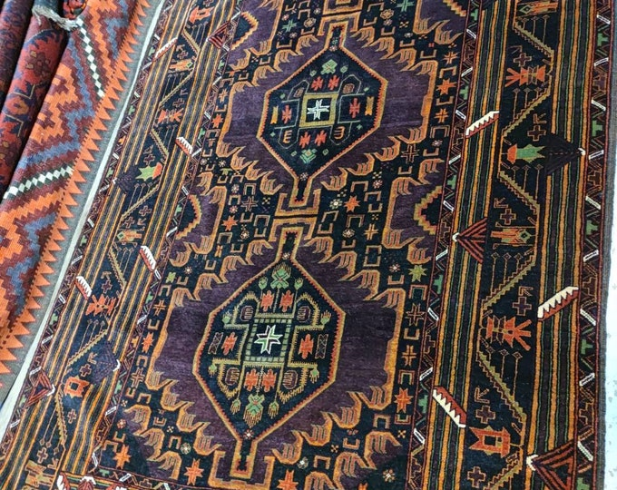 Afghan Rugs, Baluchi Rug, Vintage Tribal Handmade Baluch Accent Rug, Geometric & Tribal, Vibrant Colors, Intricate Details, Vegetable Dyes