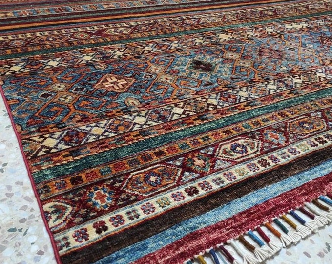 7X10 Ft Excellent Hand-Knotted Turkish Design Brand New Afghan handmade rug, large area rug, tribal rug, red persian rug