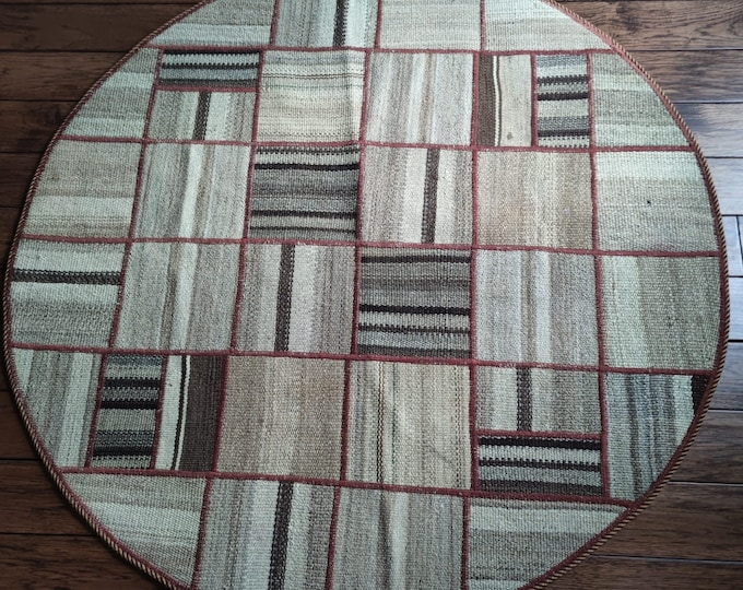 47 inch circle handmade rug, small rug, turkish kilim rug, area rug, afghan rug, turkish rug, entrance rug, woven rug, abstract rug, doormat