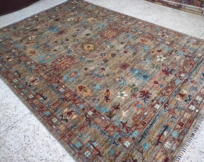 7x10 decorative rug, southwestern rug, dusty rose rug, fringe rug, nursery decor, tribal rug, afghan rugs, red rug, rugs for living room